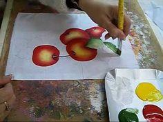 PINTURA EM TECIDO - VÍDEO AULA PINTANDO MORANGOS - how to paint strawberries - YouTube