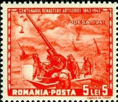 Stamp: Crossing of the Theiss (Romania) Years Romanian Artillery) Mi:RO 755 Romania, Ukraine, Wwii, Vintage World Maps, Army, World, Stamps, Gi Joe, World War Ii