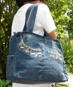 Vintage recycled denim jeans bag purse Thailanf Craft store
