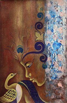 Original Signed Painting of Krishna from India - Graceful Krishna | NOVICA
