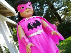 american girl doll clothes Pink Batgirl Super by PaulasArtStore, Girl Doll Clothes, Girl Dolls, American Girl Halloween, Rainbow Dash Party, Ag Doll Crafts, My Little Pony Party, Batgirl, Halloween Costumes, Trending Outfits