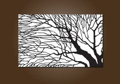 Large Modern Tree Shadows Painting Print black and white by shannacreations