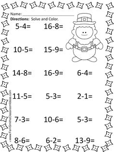 #FREEBIE St. Patrick's Day Mixed Subtraction Printable #TPT #FREE