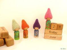 Waldorf Perpetual Calendar with Seasonal Gnomes - Peg People Wooden Calendar - Educational Toy, Homeschooling, Montessori