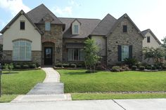 Exteriors Gallery Cribbs, Custom Builders, Earth Tones, Sidewalk, Exterior, Mansions, Stone, House Styles, Gallery