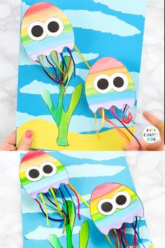 Create a wibbly wobbly swimming Jellyfish craft with the kids this Summer. - Güneş Anaokulu - - Create a wibbly wobbly swimming Jellyfish craft with the kids this Summer. Animal Crafts For Kids, Summer Crafts For Kids, Crafts For Kids To Make, Toddler Crafts, Preschool Crafts, Fun Crafts, Kids Diy, Decor Crafts, Children Crafts