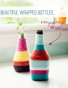 {DIY Flower Vases from Yarn Wrapped Bottles} LOVE!!! Would be great for Wedding Centerpieces in your Wedding Colors!!!!