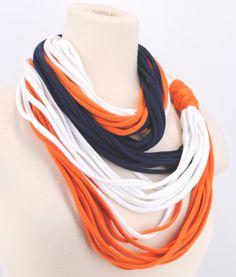 Navy Orange White Denver Broncos Auburn Tiger Bears women OOAK lightweight Infinity scarf Circle Noodle Scarf jersey T shirt multi strand on Etsy, $12.99