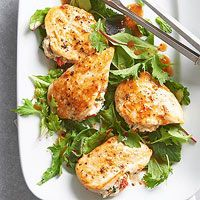 Feta-Stuffed Chicken Breasts. Only 200 calories per serving, using 6 oz of  chicken . Serve with a crisp, tossed salad - mmm.