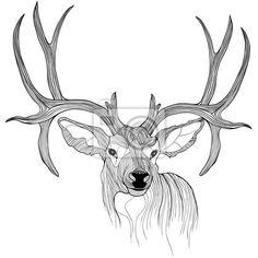 Wall Decal deer head - nature - wildlife • PIXERSIZE.com