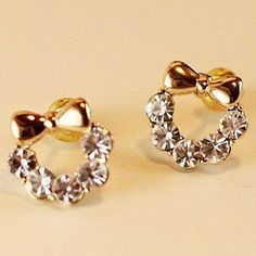Cute Diamante Bow Earrings