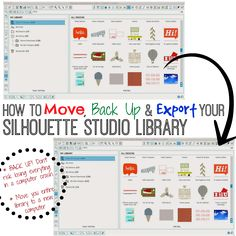 How to Back Up, Save, and Export Your Silhouette Studio Library Files - English Grammer Silhouette Cameo Tutorials, Plotter Silhouette Cameo, Silhouette School Blog, Silhouette Cutter, Silhouette Cameo Machine, Silhouette Files, Silhouette Projects, Silhouette Design, Shilouette Cameo