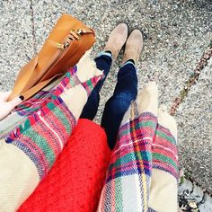 Plaid scarf + red sweater + ankle boots
