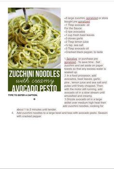 Zucchini Zoodles with Avocado Pesto Sauce - Purium Lifestyle Whole30 Salmon Recipes, Lunch Recipes, Cooking Recipes, Healthy Recipes, Healthy Meals, Avocado Pesto, Ripe Avocado, Fresh Basil Leaves, Pesto Sauce