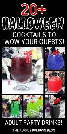 The Halloween season is upon us! And that means it's time to start thinking about what you're going to serve at your party. Why not wow the crowd with one or two spooky signature drinks from this selection of 20+ Halloween Cocktails? Most of the drinks have mocktail options too, so there is truly something for everyone at your Halloween shindig! Purple Pumpkin, A Pumpkin, Pumpkin Spice, Halloween Cocktails, Easy Cocktails, Halloween Crafts, Halloween Party, Party Scene, Food Themes