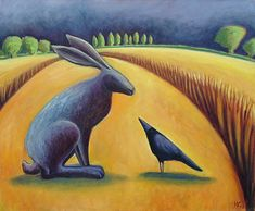 Hare and Crow in the Corn  by Hannah Giffard