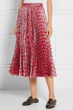 Gucci - Pleated Printed Lamé Skirt - Red - IT48