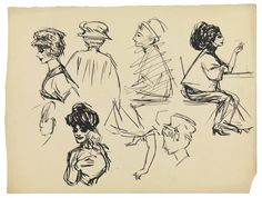 Edward Hopper (1882–1967), Two Seated Women in Profile and Women's Busts, 1906–07. Pen and ink on paper, 9 13/16 × 13 1/16 in. (24.9 × 33.2 ...