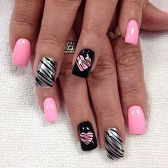 Nail art is a very popular trend these days and every woman you meet seems to have beautiful nails. It used to be that women would just go get a manicure or pedicure to get their nails trimmed and shaped with just a few coats of plain nail polish. Valentine's Day Nail Designs, Best Nail Art Designs, Acrylic Nail Designs, Fingernail Designs, Nails Design, Heart Nail Designs, Pictures Of Nail Designs, Nail Designs With Hearts, Zebra Acrylic Nails