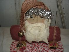 Santa Pull Toy by YorkiesPrimitives on Etsy, $16.95 ( SOLD)