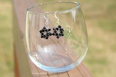 Black Snowflake Swarovski Crystal Earrings.  via Etsy.