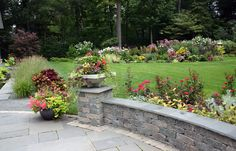 stone walls landscaping | stone wall with plantings