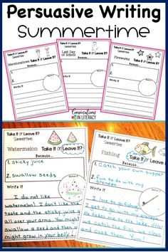 FUN Summer Writing Activities for kids! Persuasive writing prompts activities for elementary classrooms! Makes writing fun by using opinions and reasons to back up opinions in writing a paragraph. Fun summer time topics! #firstgrade #secodngrade #thirdgrade #fourthgrade #conversationsinliteracy #writingactivities #writingprompts #elementary #classroom 1st grade, 2nd grade, 3rd grade, 4th grade
