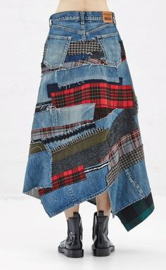 Asymmetrical midi skirt in washed Denim/ Blue Jeans with multi-colored patchwork attachments throughout. Straight fit at waist. Button fly and closure. Classic five-pocket styling. Dry clean only. Diy Jeans, Recycled Fashion, Recycled Denim, Sewing Clothes, Diy Clothes, Mode Tartan, Denim Ideas, Altered Couture, Denim Patchwork