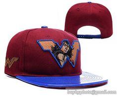 Superman Snapback Hats LeatherBrim Blue