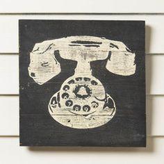 Reclaimed Wood Rotary Phone Print