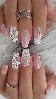 Bright Nail Designs, Pretty Nail Designs, Pretty Nail Art, Acrylic Nail Designs, Nail Designs With Glitter, Nail Art Designs Images, Best Nail Art Designs, Shiny Nails, Bright Nails