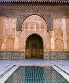 Central patio of Ben Youssef Madrassa in Marrakech...  www.asilahventures.com
