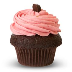 Fruity Raspberry icing on our decadent Chocolate cupcake! Try one today! #chocolate #raspberry #valentine #pink #yum #prairiegirlbakery