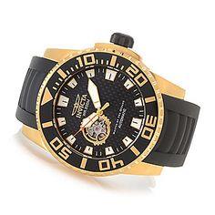 Invicta 52mm Pro Diver Automatic Open Heart Polyurethane Strap Watch