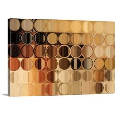 """Canvas On Demand 'Circles and Squares 39. Brown Bronze Abstract Art' by Mark Lawrence Graphic Art on Canvas Size: 20"""" H x 30"""" W x 1.25"""" D"""