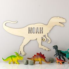 If your little boy loves dinosaurs then we have the perfect wooden dinosaur sign for you and you can personalise it with any name or nickname! The dinosaur T Rex sign has been laser-cut and features . Dinosaur Cut Outs, Dinosaur Nursery, Boys Dinosaur Room, Baby Dinosaurs, Baby Boy Rooms, Baby Decor, Kids Room, Laser Cut Signs, Cool Ideas