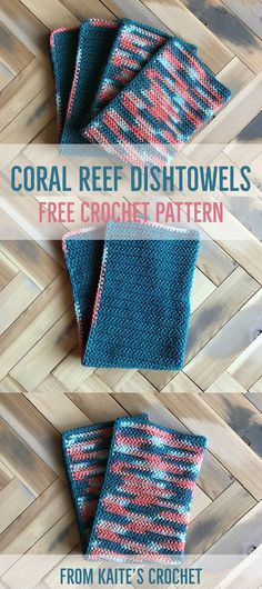 Coral Reef Dishtowels - Free Crochet Pattern from Kaite's Crochet, A Modern Crochet Blog - Part 3 of the Coral Reef Kitchen Series