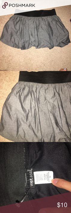 Grey Poof Skirt Never wore this! Cute grey denim-ish material. Wet Seal Skirts