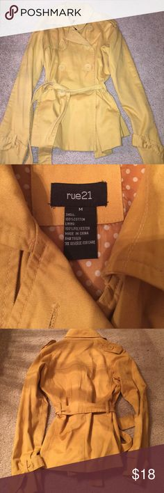 Mustard yellow gold cotton fall spring jacket Cute cotton trench-like coat from Rue 21. Size medium. Gently worn! Jackets & Coats