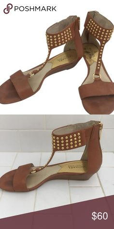 Explosion Models Womens Casual Shoes - Michael Kors Fawn Dark Caramel Vintage Cow/Studs