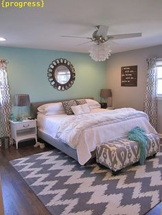 One way to mix patterns, especially if you're a newbie, is to stick with a very simple color palette. The couple at Retro Ranch Renovation turned this bedroom into an escape with soft turquoise accent (How To Mix Patterns)