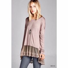 e8a0fd90faa584 Lace Trimmed Tunic in Mocha Long Tunic Tops
