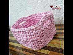 100 Abo Special: Häkelkörbe / Korb aus Zpagetti-Textilgarn, # ha … – My CMS Crochet T Shirts, Crochet Yarn, Knitting Yarn, Crochet Stitches, Chunky Crochet, Single Crochet, Crochet Basket Pattern, Crochet Patterns, Crochet Baskets