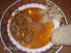 Fotorecept: Diviačie mäso so slaninkou a vajciami Pot Roast, Thai Red Curry, Ale, Cooking Recipes, Ethnic Recipes, Food, Carne Asada, Beer, Cooker Recipes