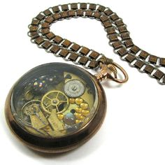 Love the Chain! Steampunk Beetle Necklace KAFKA CLOCK Genuine Insect Citrine Labradorite One of a Kind Work of Art from Nouveau Motley