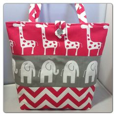 Large Modern Diaper Bag/Tote...Ele Elephants and by ShowerChic