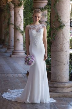 Style 4005: Crepe Gown with Illusion Lace Train | Sincerity Bridal