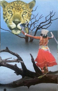 """""""Jaguar woman"""" I am the one who is feirce, magical, and practices shamanic principles."""" Soul collage by Lacey Boles"""