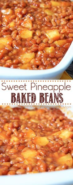 These Sweet Pineapple Baked Beans are the perfect side dish! Beans with pineappl… These Sweet Pineapple Baked Beans are the perfect side dish! Beans with pineapple chunks, pineapple juice, and brown sugar – great for potlucks and BBQs! Canned Baked Beans, Baked Beans Crock Pot, Easy Baked Beans, Baked Bean Recipes, Beans Recipes, Baked Beans Salad, Healthy Baked Beans, Vegetarian Baked Beans, Lima Bean Recipes