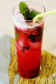 Black and Blue - blackberries, blueberries, lemon, mint, simple syrup, rum